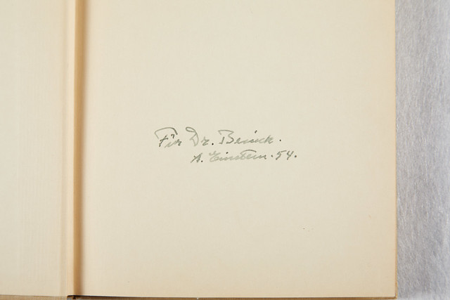 "Autographed copy of ""The Meaning of Relativity."" Original signature by Albert Einstein in 1954."