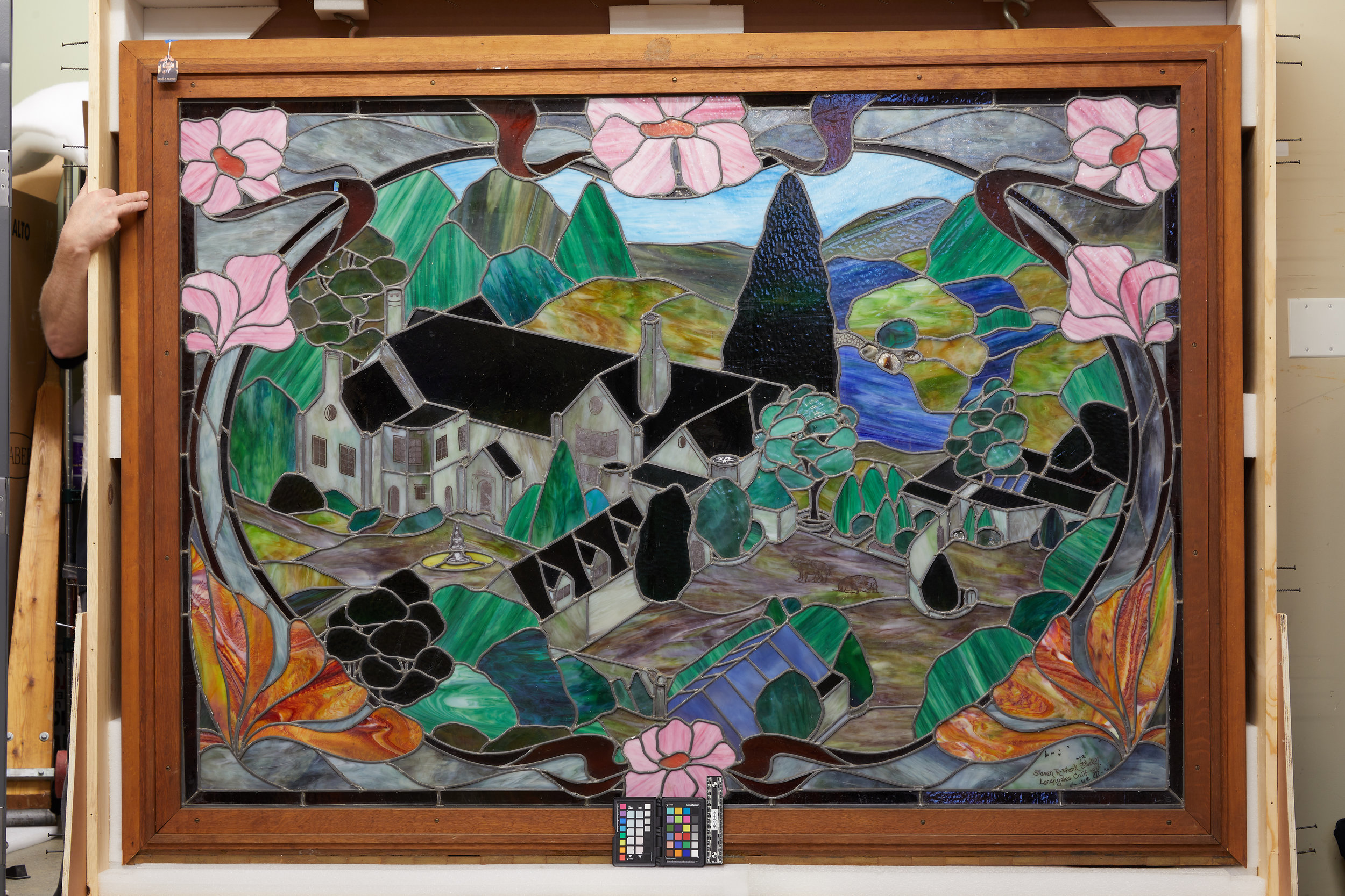 The stained-glass panel before treatment.
