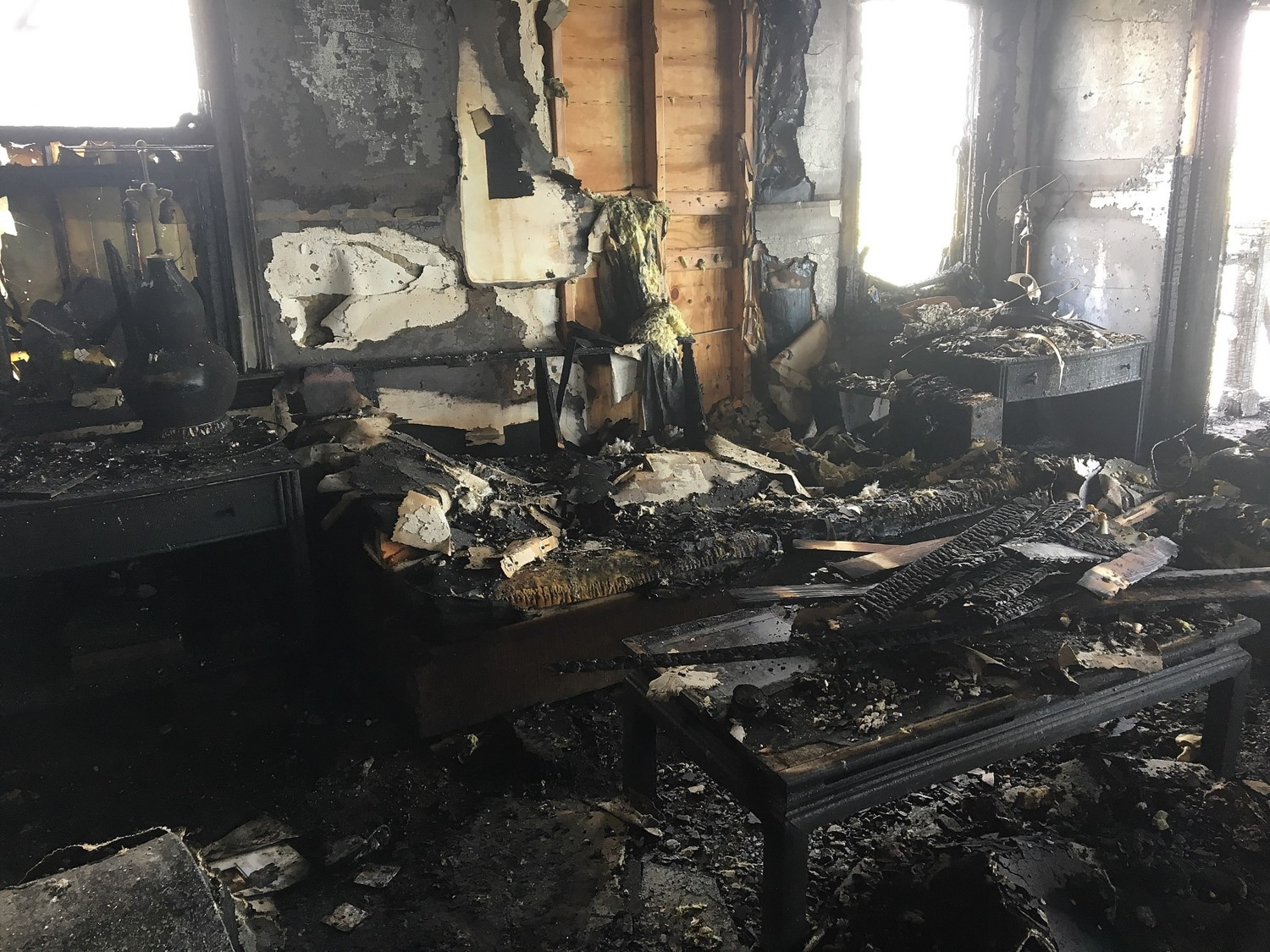 The interior of a home severely affected by a wildfire in California.