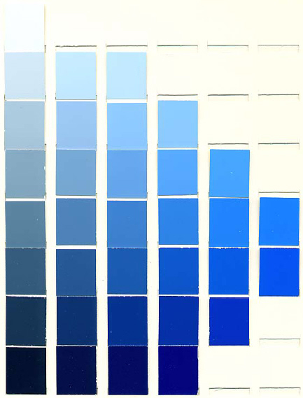 A chart of various blue pigments.
