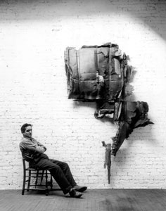 Robert Mallary next to one of his works, photo courtesy of  the artist's estate.