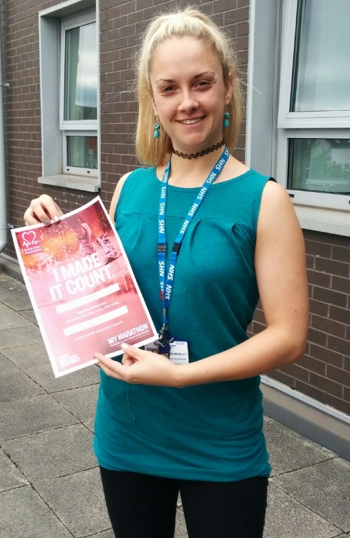 "Helen Morley (Senior Research Assistant) from the Pathway team ran 26.2 miles in May 2016 to complete the British Heart Foundation ""My Marathon"" and raised a fantastic £53.24 for the charity! Well done Helen!!"