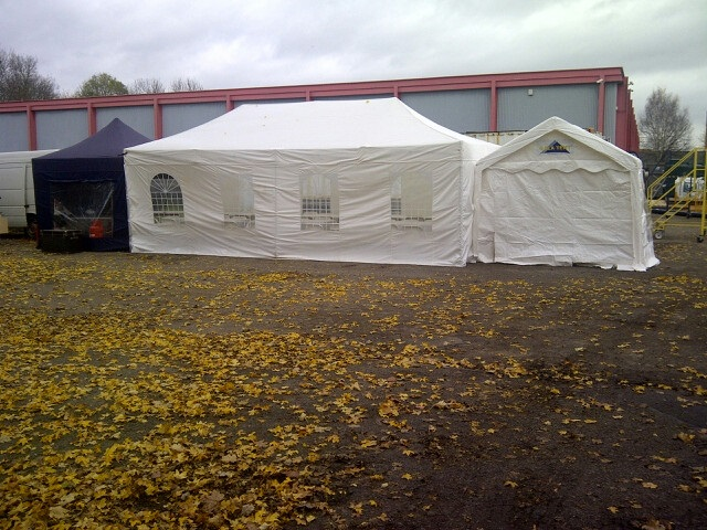 Marquee with side working area and entrance tents