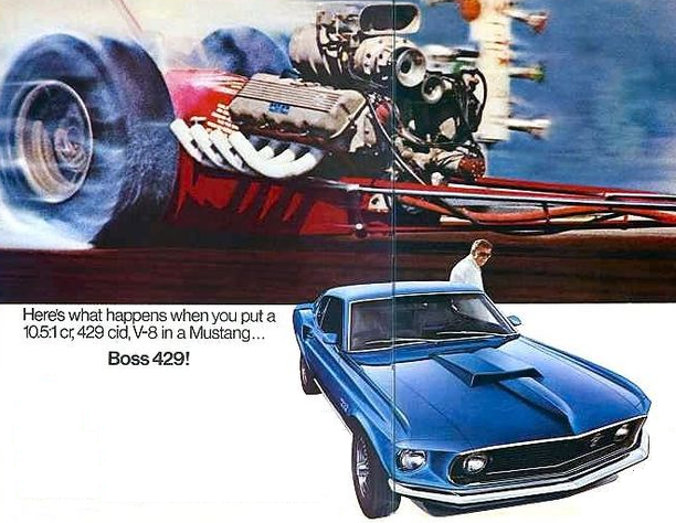 Advertisement for the 1969 Boss 429 Mustang.