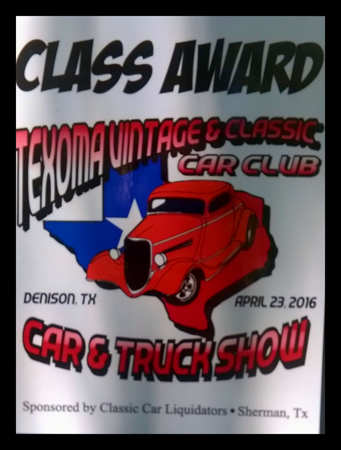 Texoma Vintage & Classic Car Club Award