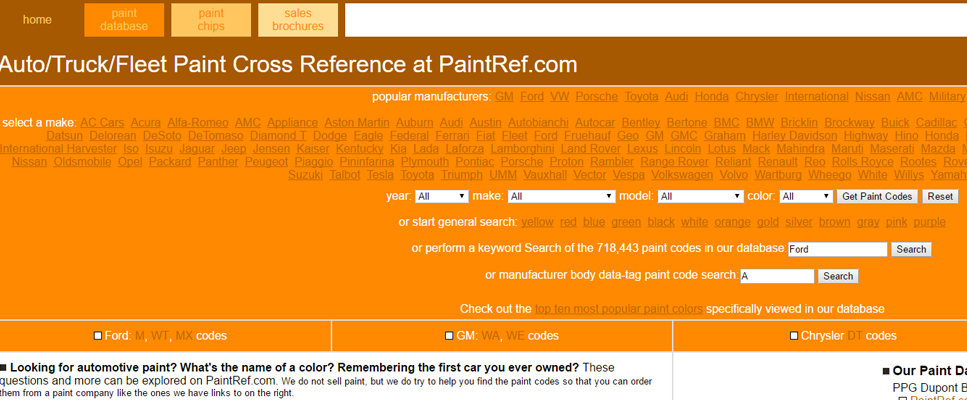 Paint Cross Reference Banner