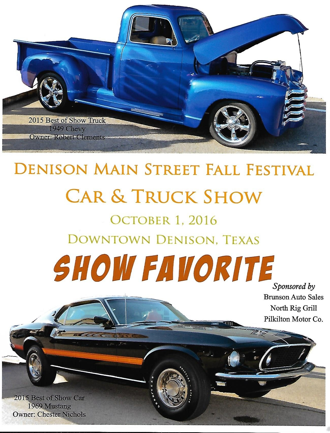 Denison Main Street Fall Festival Car & Truck Show Award for Show Favorite