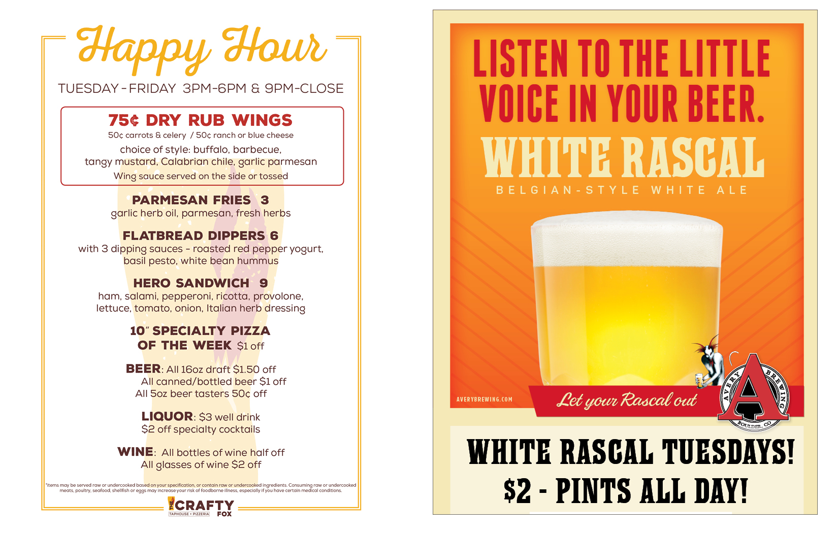 Crafty Happy Hour and White Rascal Tuesday