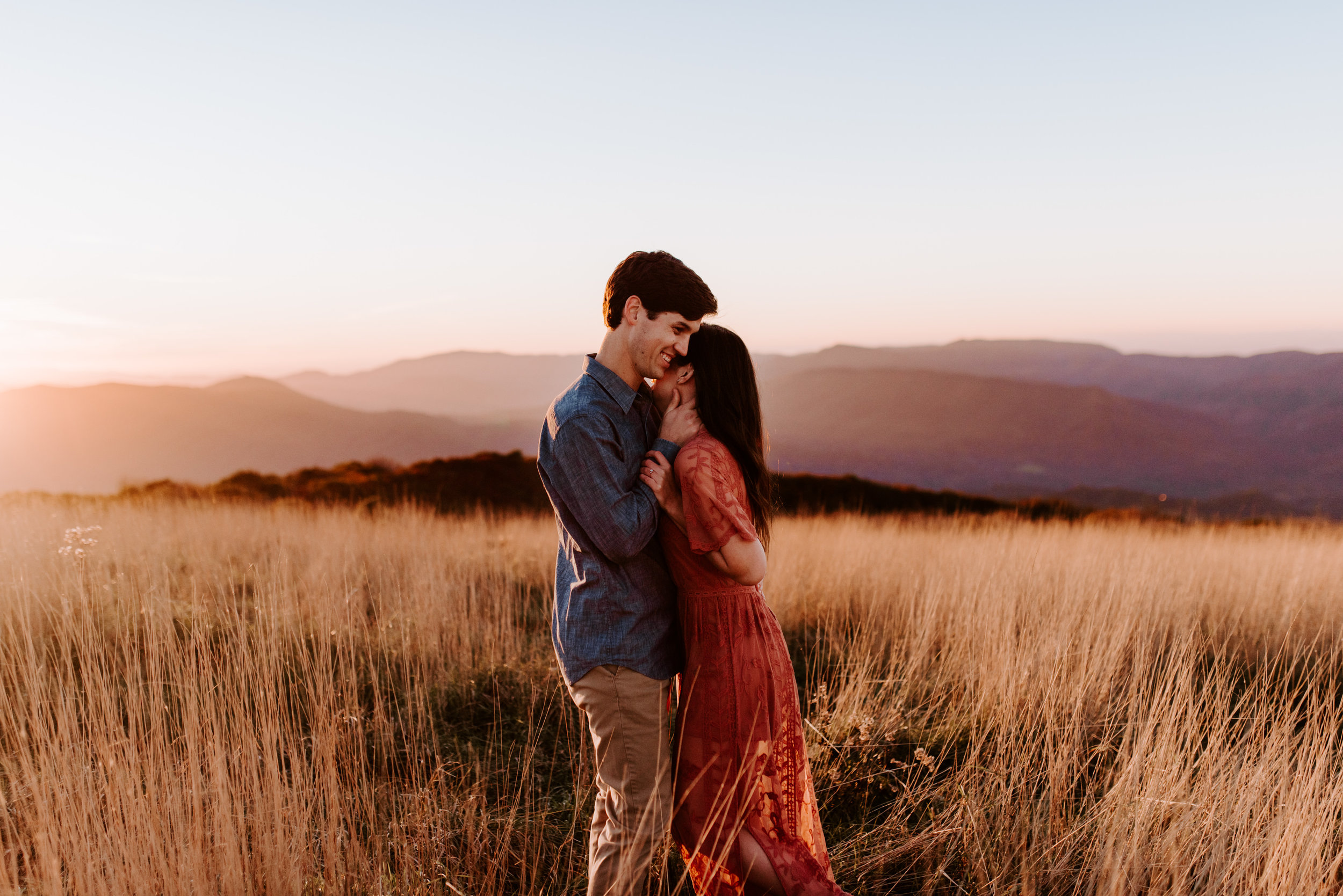 Sunset Blue Ridge Mountains Engagement