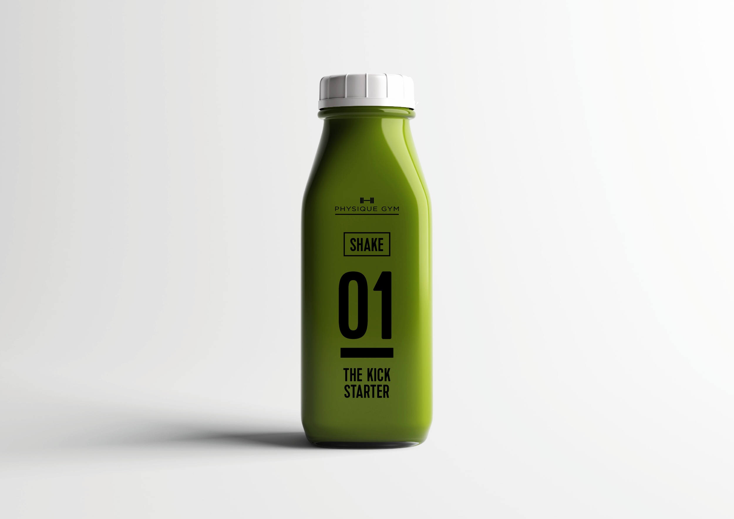 Protein shake bottle packaging design for London based gym Physique