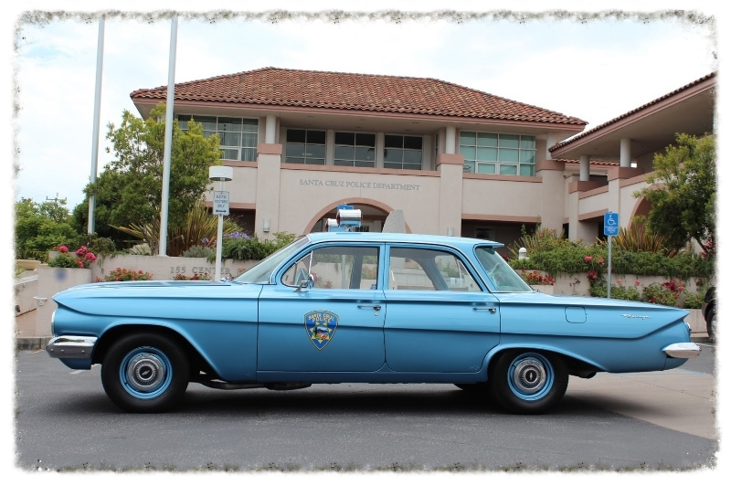 1961 Chevrolet Biscayne, this classic was rebuilt with funds from the first Hot Rods at the Beach Car Show in 1998.