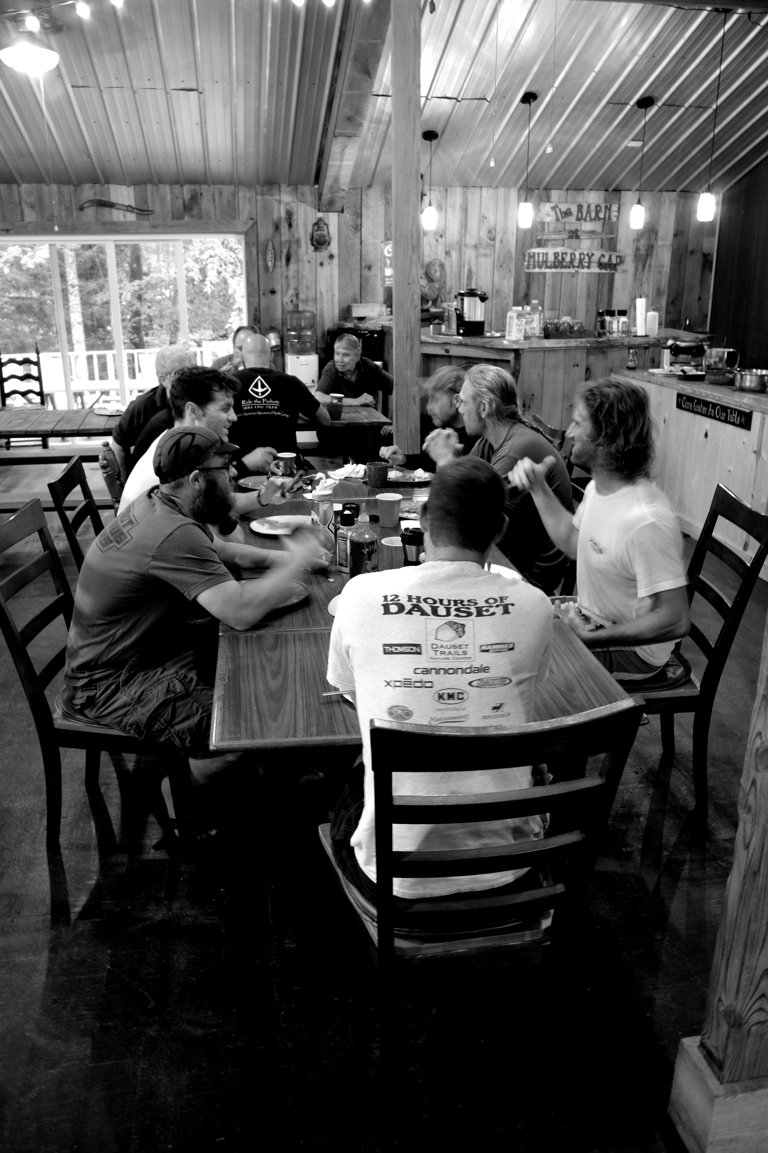 Racers enjoying breakfast at Mulberry Gap before heading to the South Carolina border.