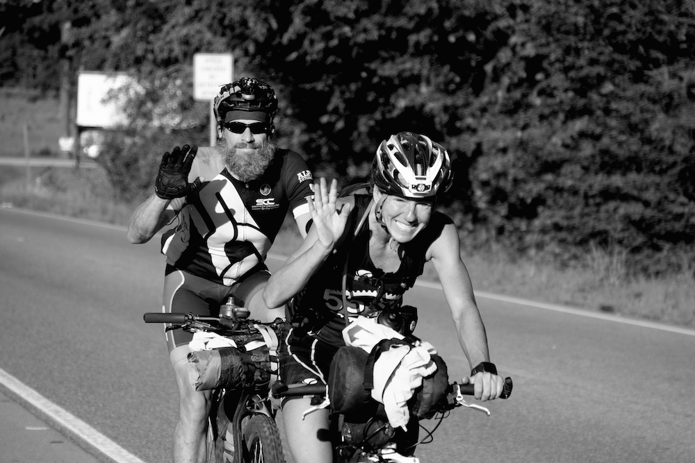 Brenda Herrington shedding happy tears as they near the finish line with riding partner Chris Tucker.