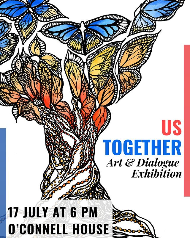 If you are in Dublin tomorrow come stop by the #UsTogether Exhibition by for some art, poetry, chats, and light refreshments👌🏻 this show is a pivotal piece for my masters dissertation and I am so proud of the artists and writers I have the honor of featuring. Check out link in bio for more details/RSVP as well as @ustogether.ie! {artwork by featured artist @maddiepaints}