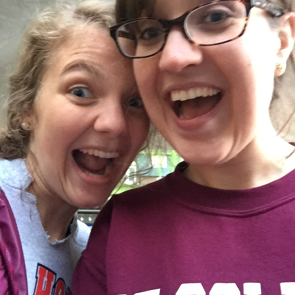 Doing what sisters do best: taking goofy selfies.