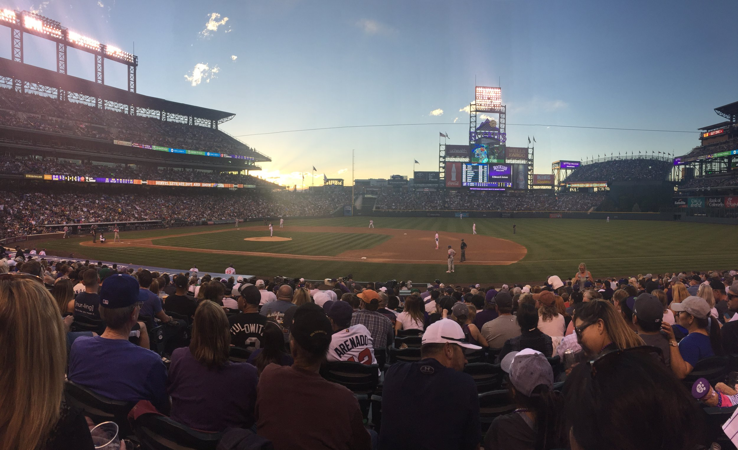 The Rockies vs. The Dodgers at Coors Field