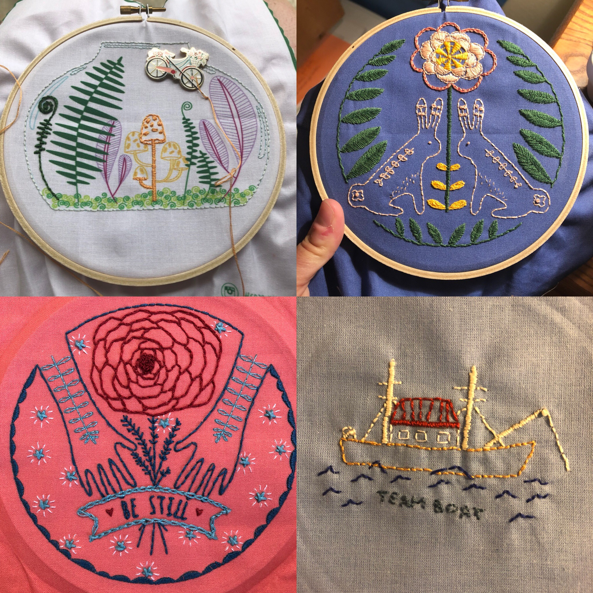 My first four embroidery projects, July 2019.