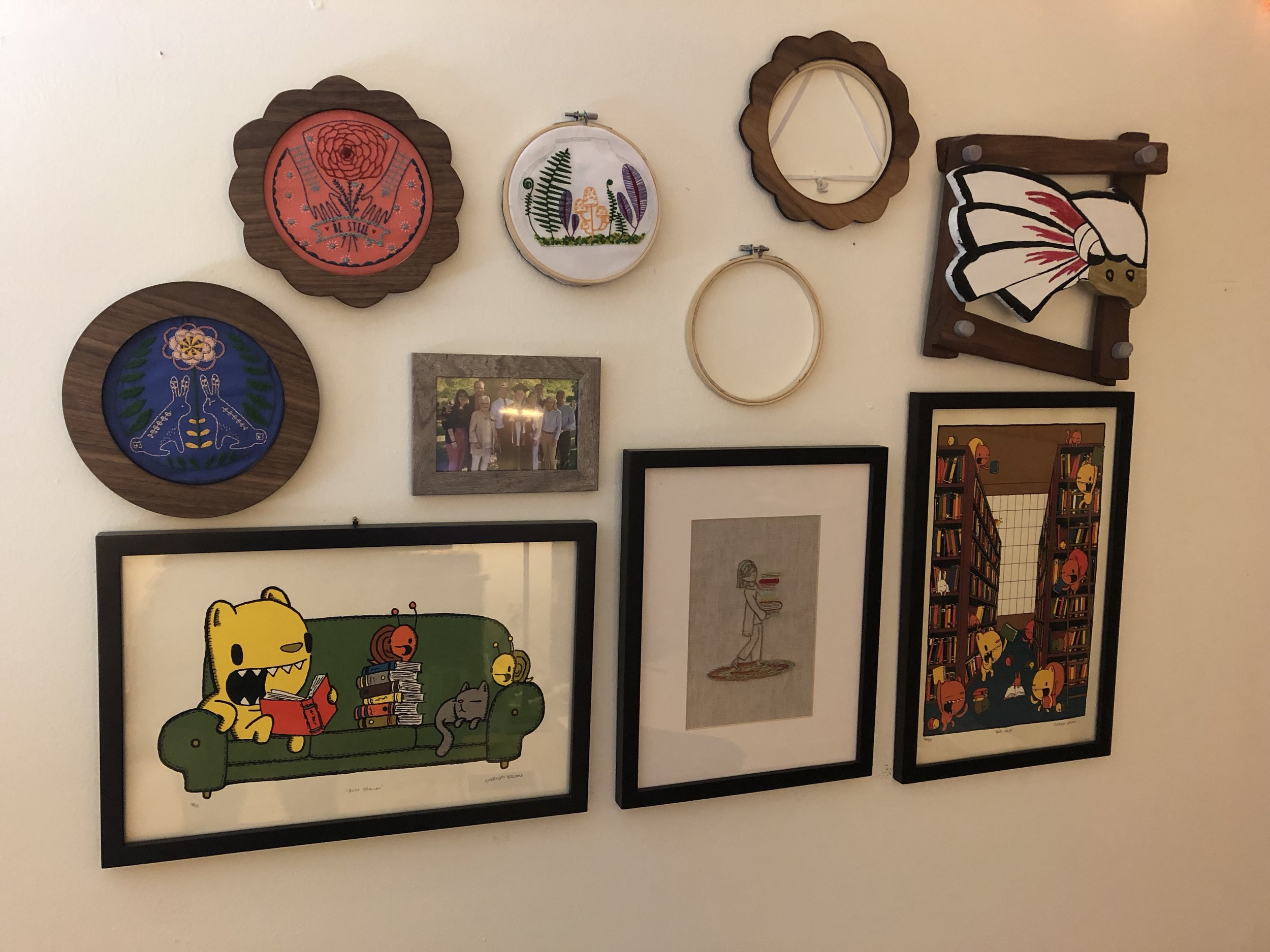 My new wall, filled with my embroidery projects.