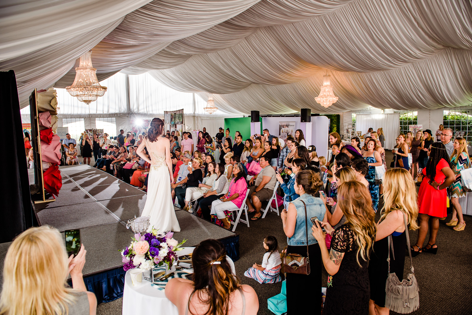 The Regatta Pavilion tent at the Hyatt Regency Mission Bay Resort (our show hosts for the April 23, 2017 [the 42nd!] Wedding Party EXPO) made the perfect spot for our bridal gown fashion show!