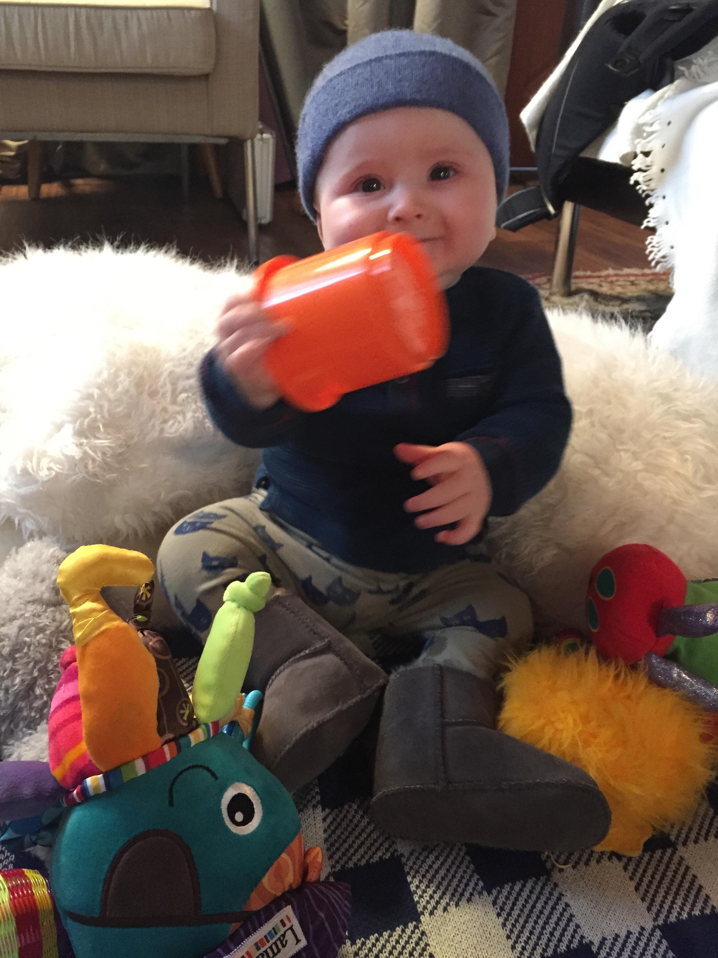 Orange cup is his favorite