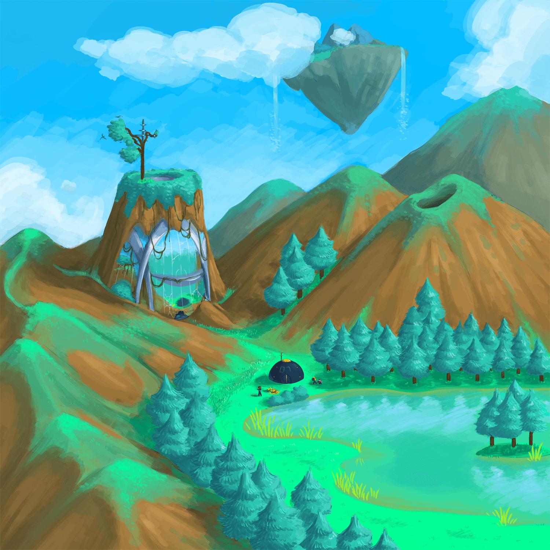 A precursor facility nestled into the mountains, a Voyager team preparing to enter.