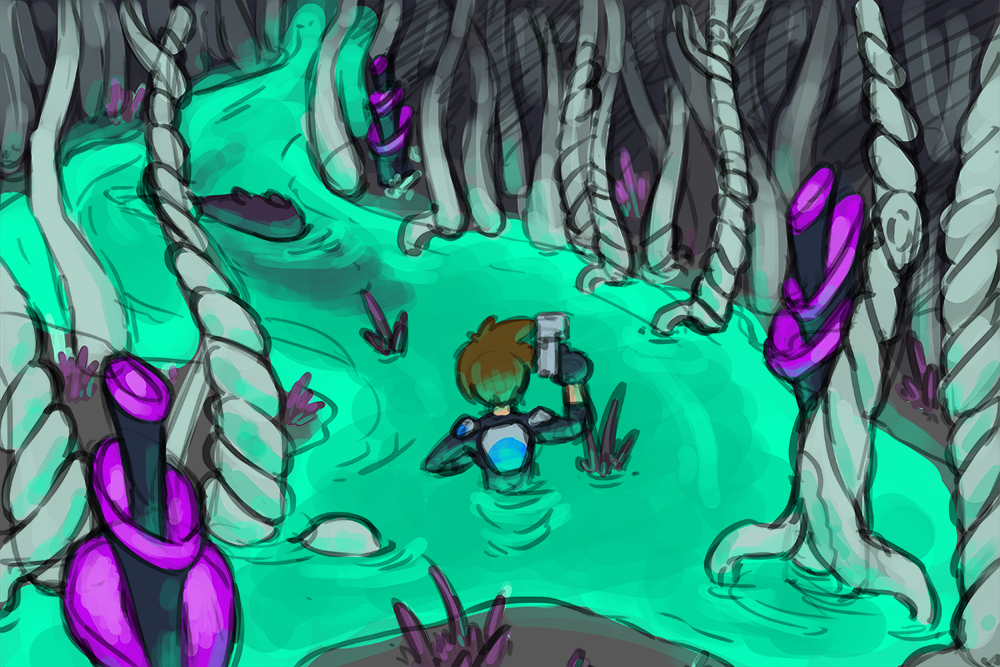 A brave Voyager wades through a luminescent swamp.