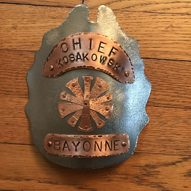 Helmet shield for a retired Chief of Bayonne, NJ #nickberardistudios #firefighter #brotherhood