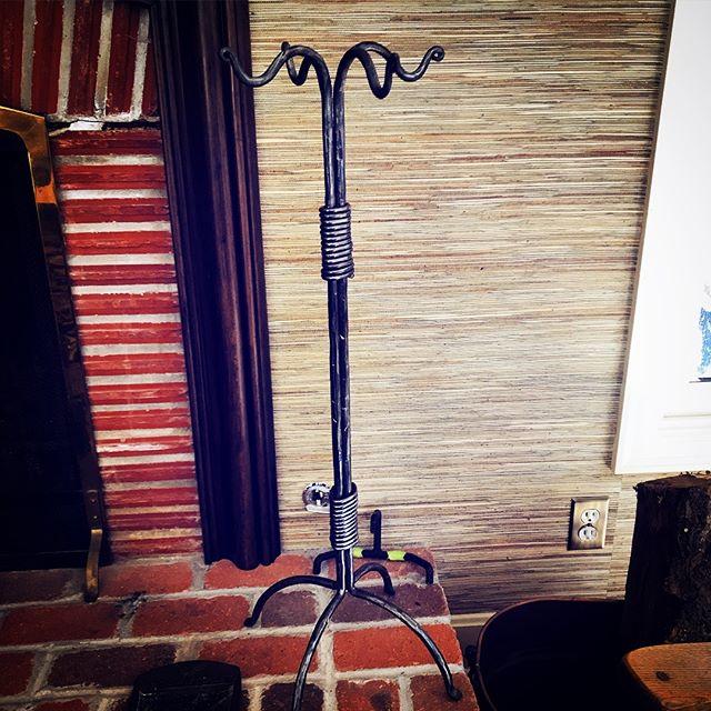 Fireplace tool holder. #nickberardistudios #forgediron #blacksmithing