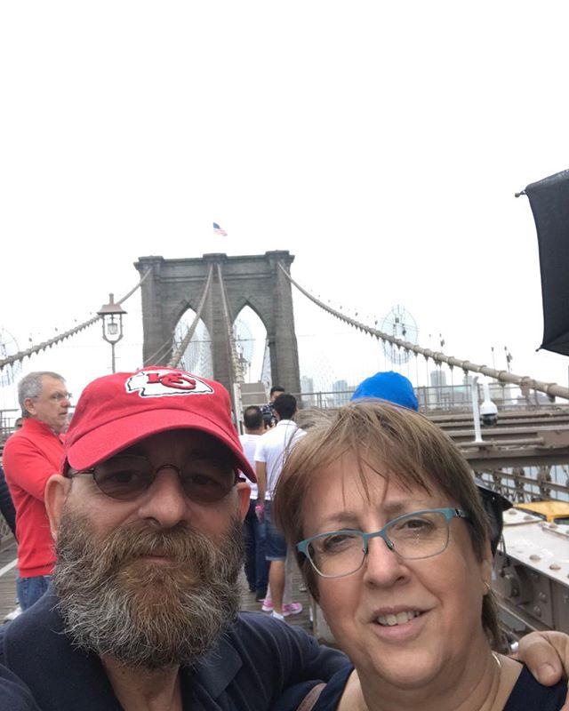 Brooklyn Bridge on a rainy day.