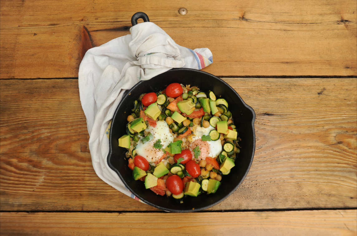 Skillet Eggs with Veggies and Chickpeas