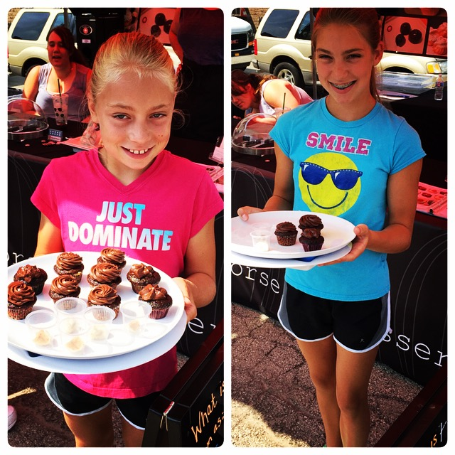 My nieces from Wisconsin handing out samples!