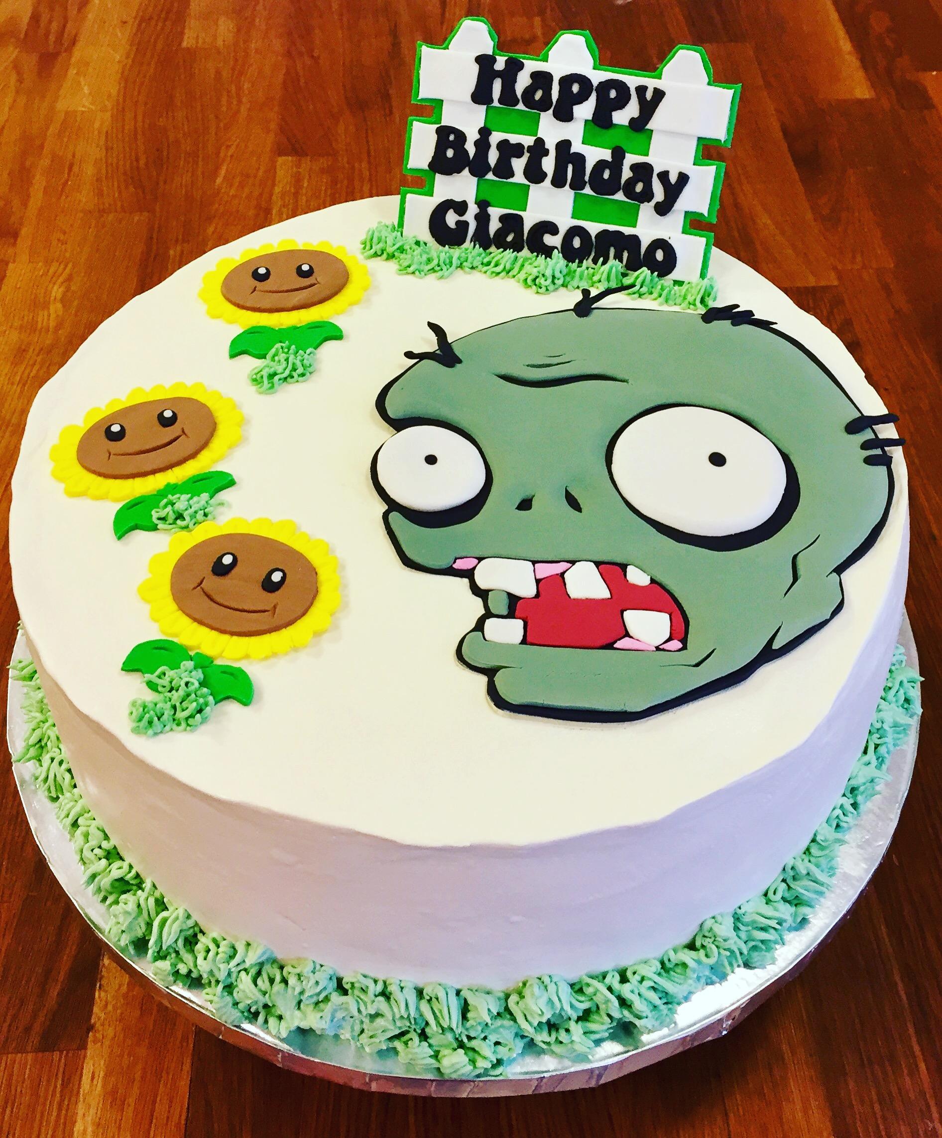 Plants v Aliens Birthday Cake