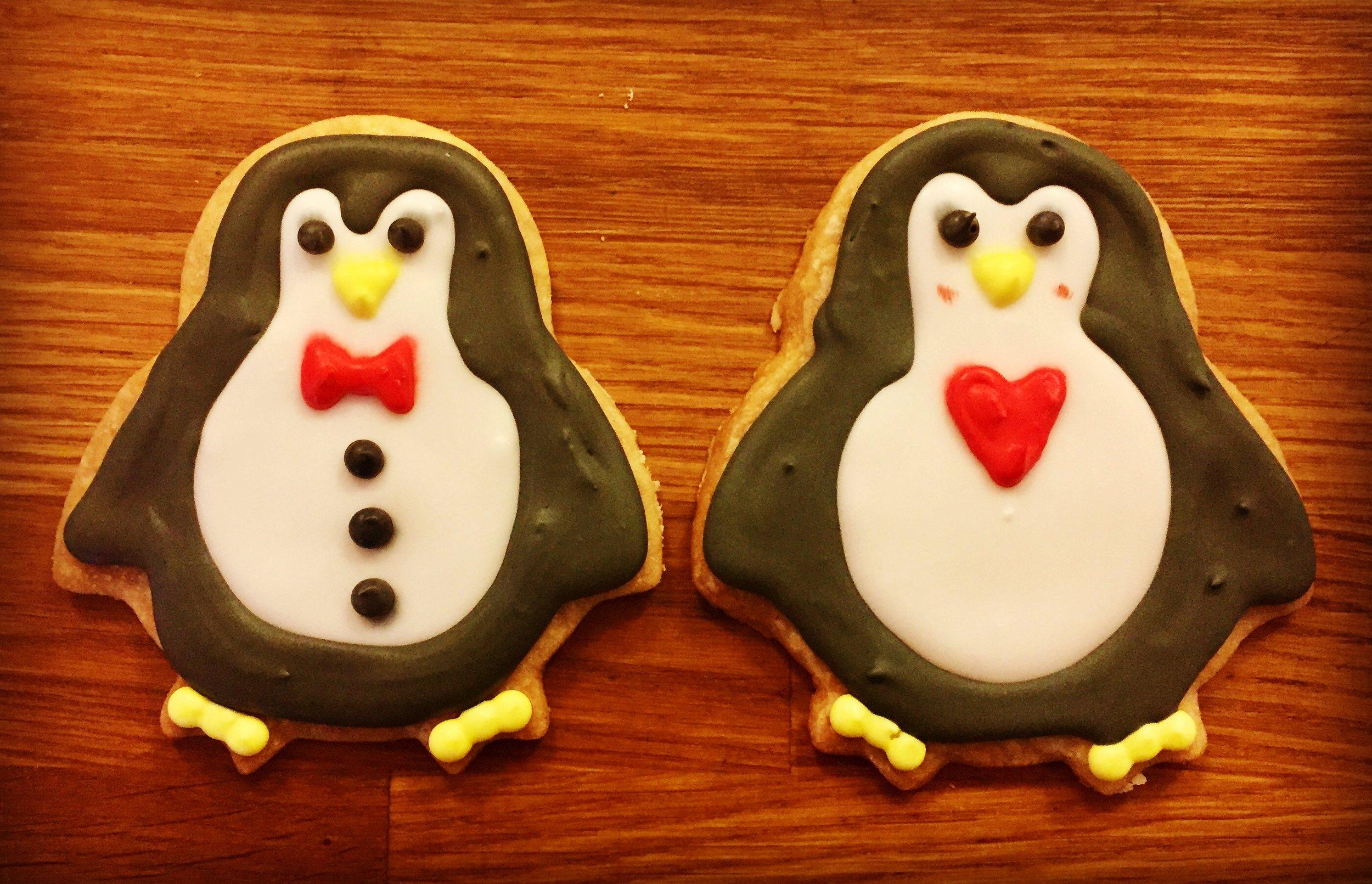 Mr and Mrs Penguin Shortbread Cookies