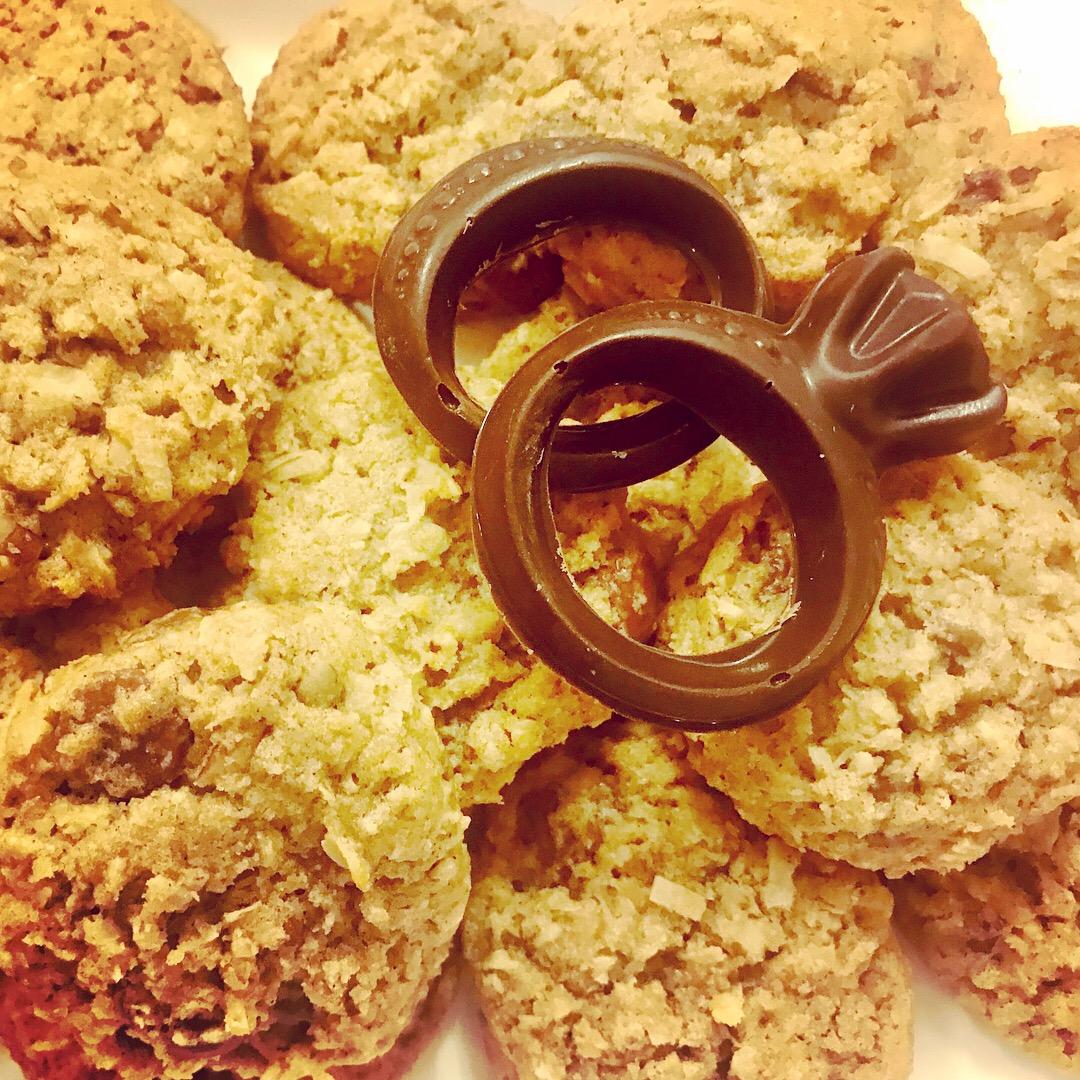 Engagement Chocolates atop Texas Cowboy Cookies