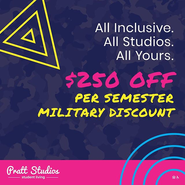 Did you know we offer a military discount for all ROTC, military and veteran students!? $250 back in your pocket! Enjoy privacy in your own studio apartment while living amongst your friends! Contact Carrie today for more information! carrie@iupprattstudios.com