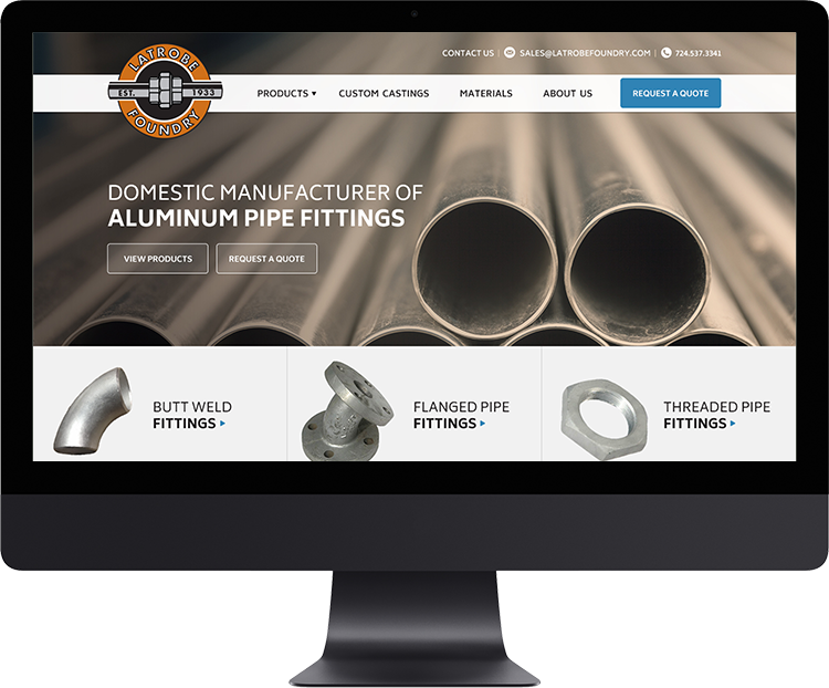Latrobe Foundry   Latrobe Foundry Machine & Supply Company manufactures and machines high-quality threaded and flanged aluminum pipe fittings in numerous stock sizes and styles, including both standard and reducing fittings.