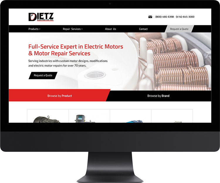 Dietz Electric Co, Inc.   Dietz Electric is a full-service company specializing in electric motors, drives and gear reducers.  Their 70+ years of experiences provides customers with a vast range of services including custom designs, modifications and repairs.
