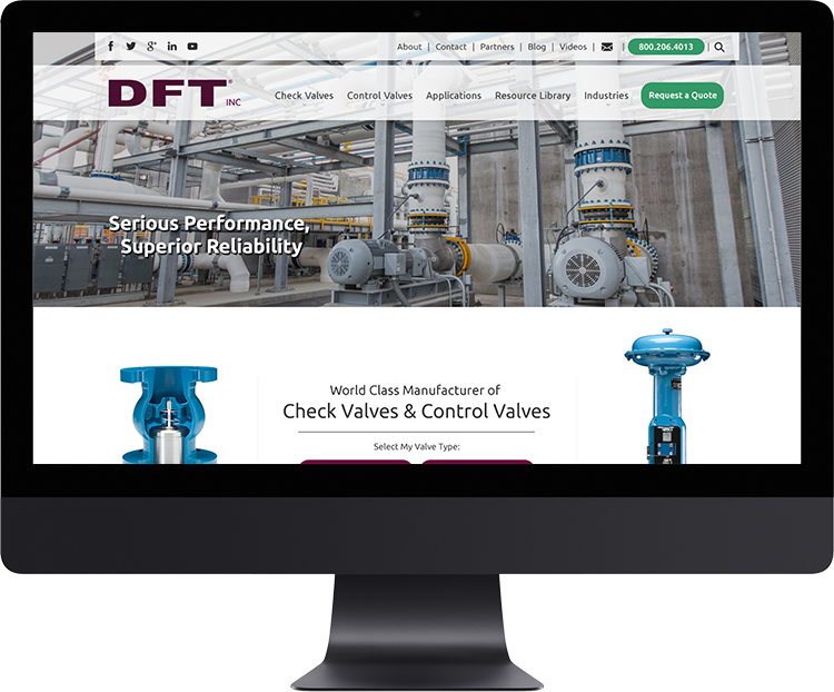 DFT Inc.   Since 1943 DFT® Inc. has manufactured world class, problem solving, in‑line, axial flow, nozzle style silent check valves and severe service control valves.