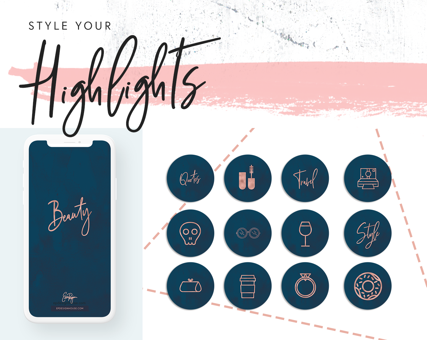 The Teal & Rose Gold Foil Instagram Highlight Icon Pack