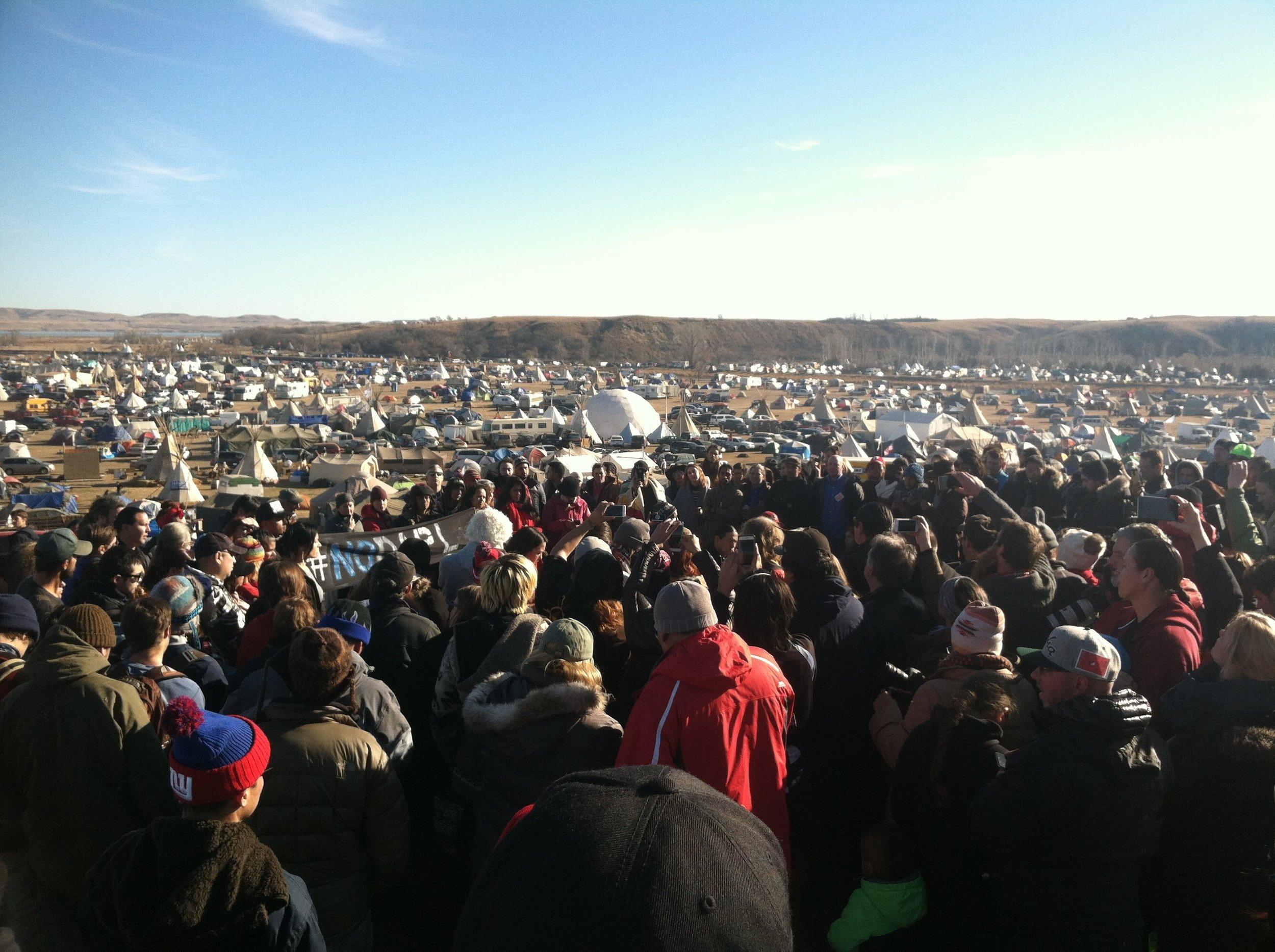 A press conference at the Oceti Sakowin Camp - Standing Rock, North Dakota