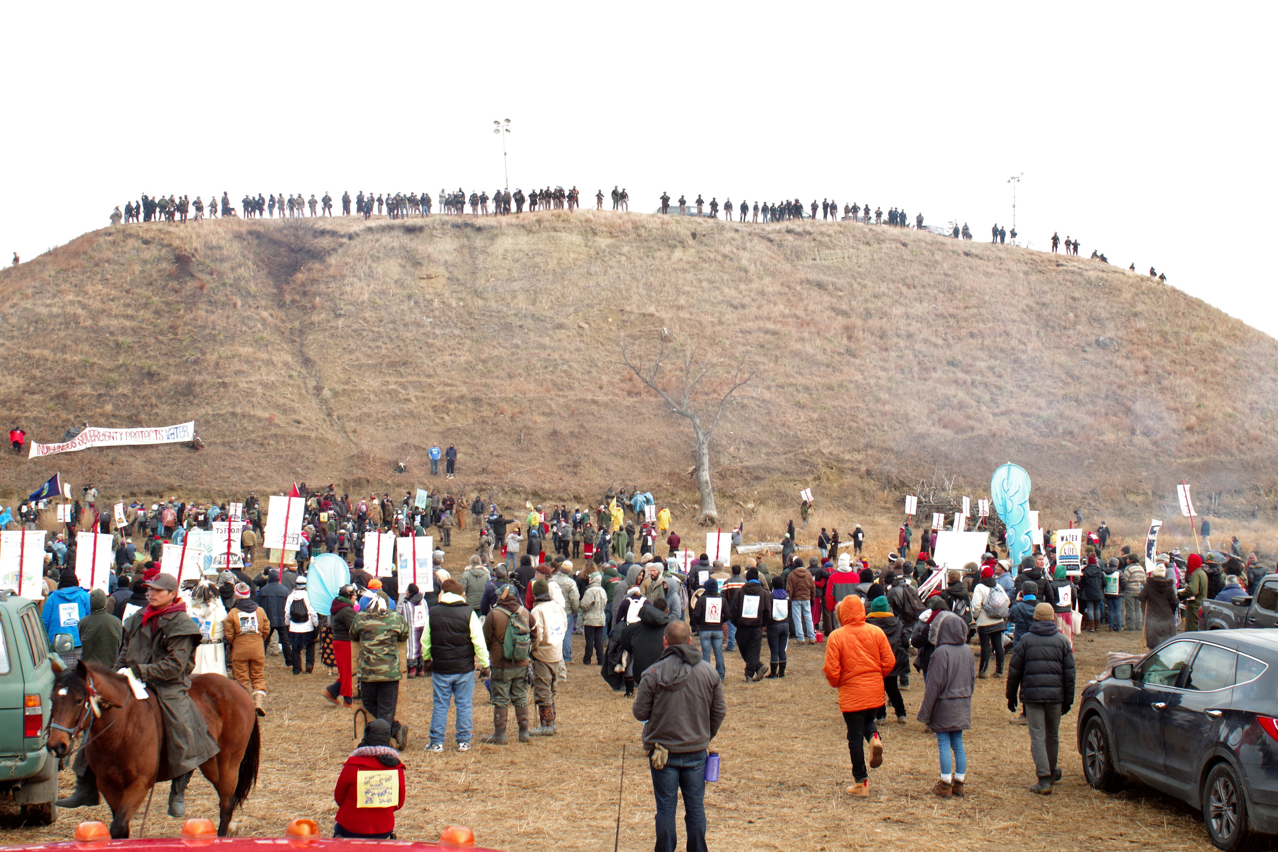 Water Protectors at Turtle Island - Police at the top of the island.