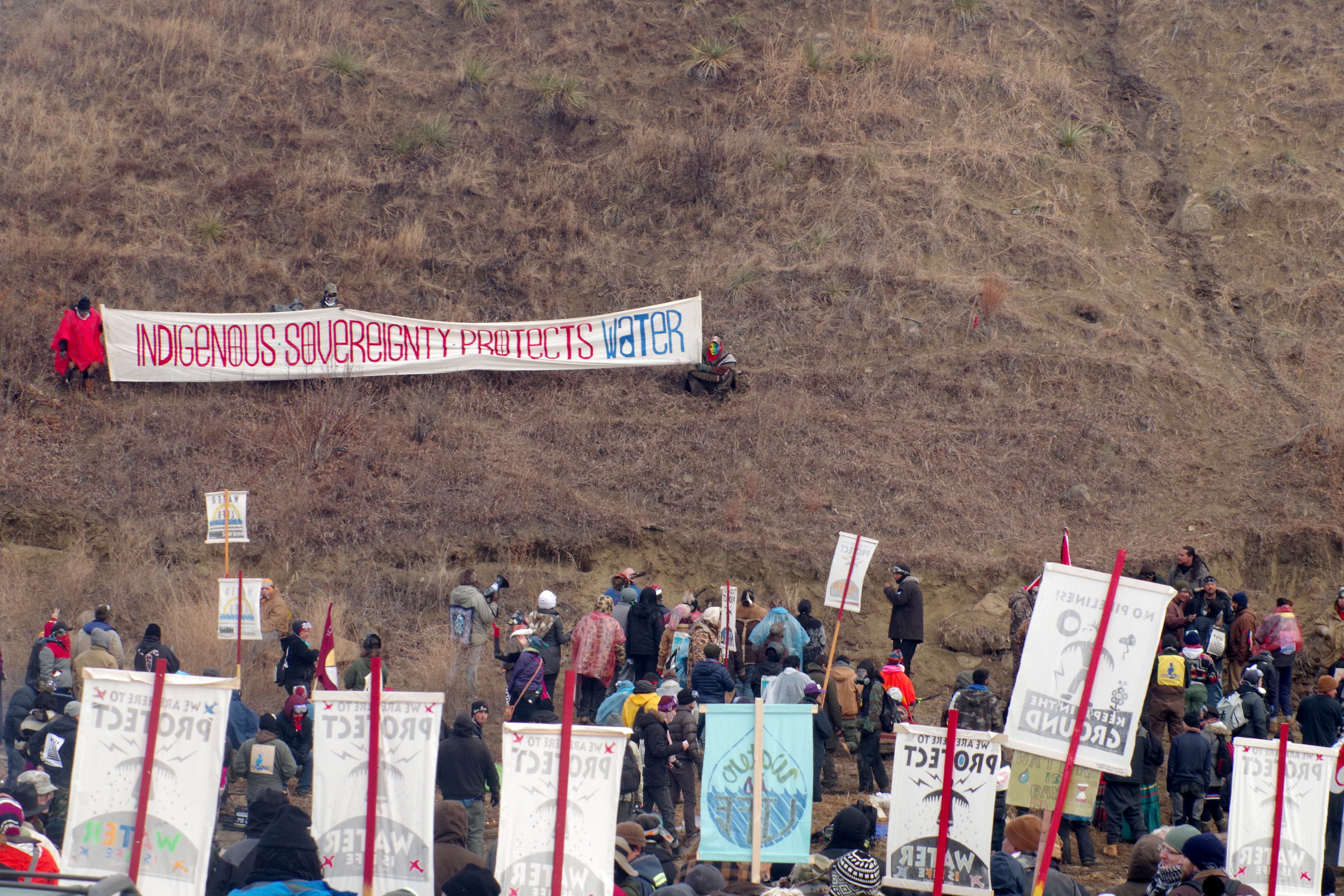 Water Protectors at the base of Turtle Island.