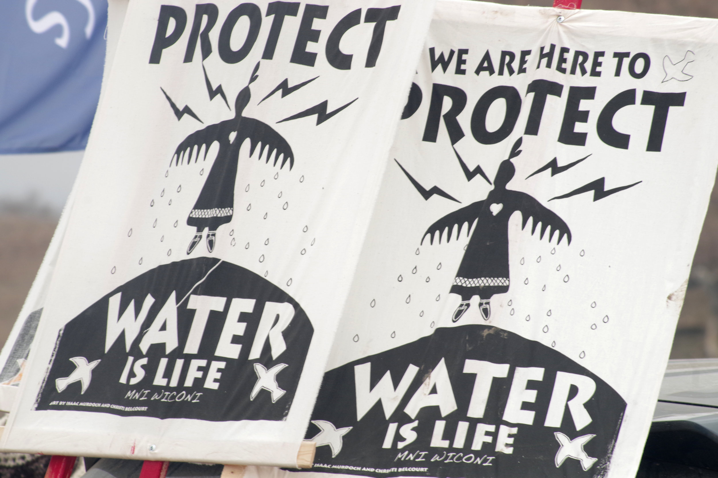 Water Protector banners.