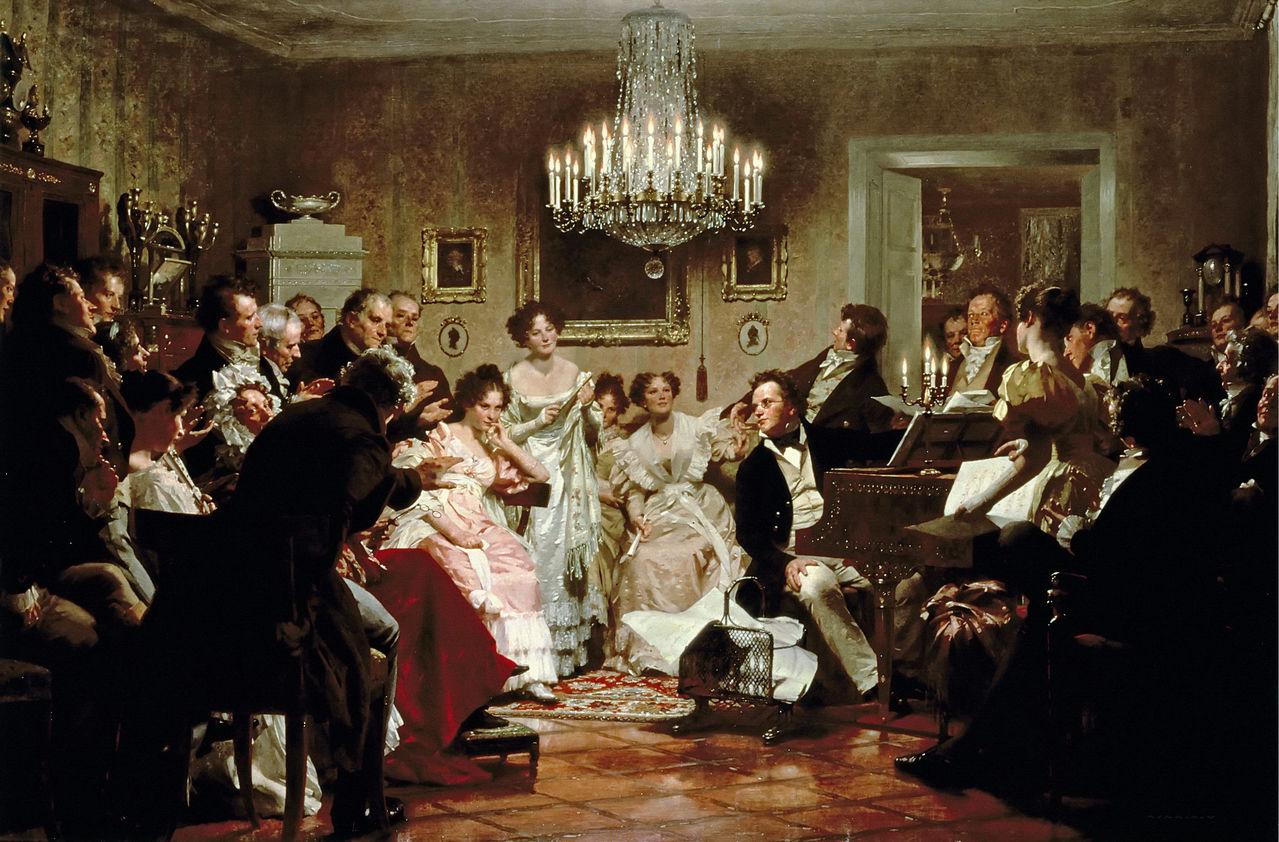 "Schubert playing at one of his famous ""Schubertiades"" where he would premiere many of his new songs. Julius Schmidt 1897"