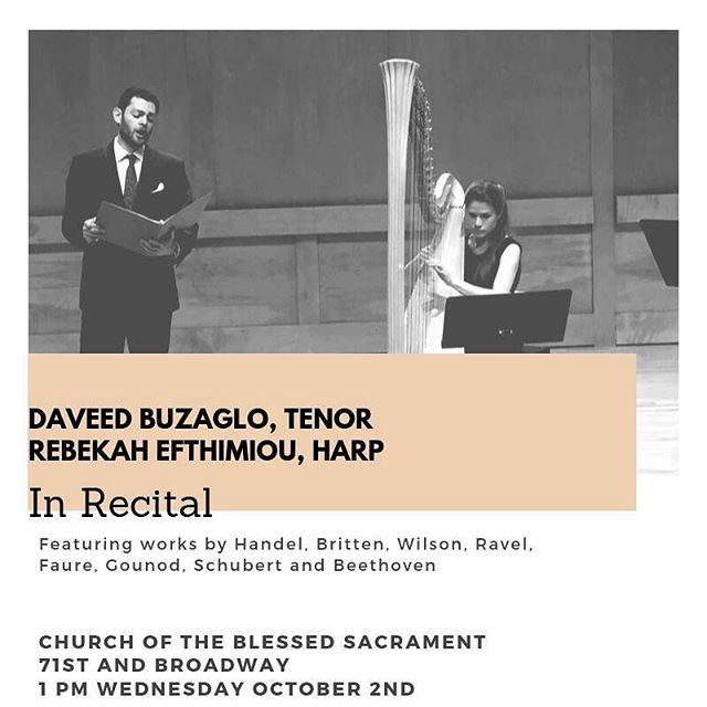 New York friends! Just wanted to let you all know about this exciting recital @refthimiou_harp and I have coming up! It's a free lunchtime recital on the UWS, we'd love to see you all there! • • • • #music #genre #song #songs #TagsForLikes #melody #myjam #newsong #lovethis #favoritesong #photooftheday #bumpin #repeat #listentothis #goodmusic #instamusic #opera #classicalmusic #livemusic #thevoice