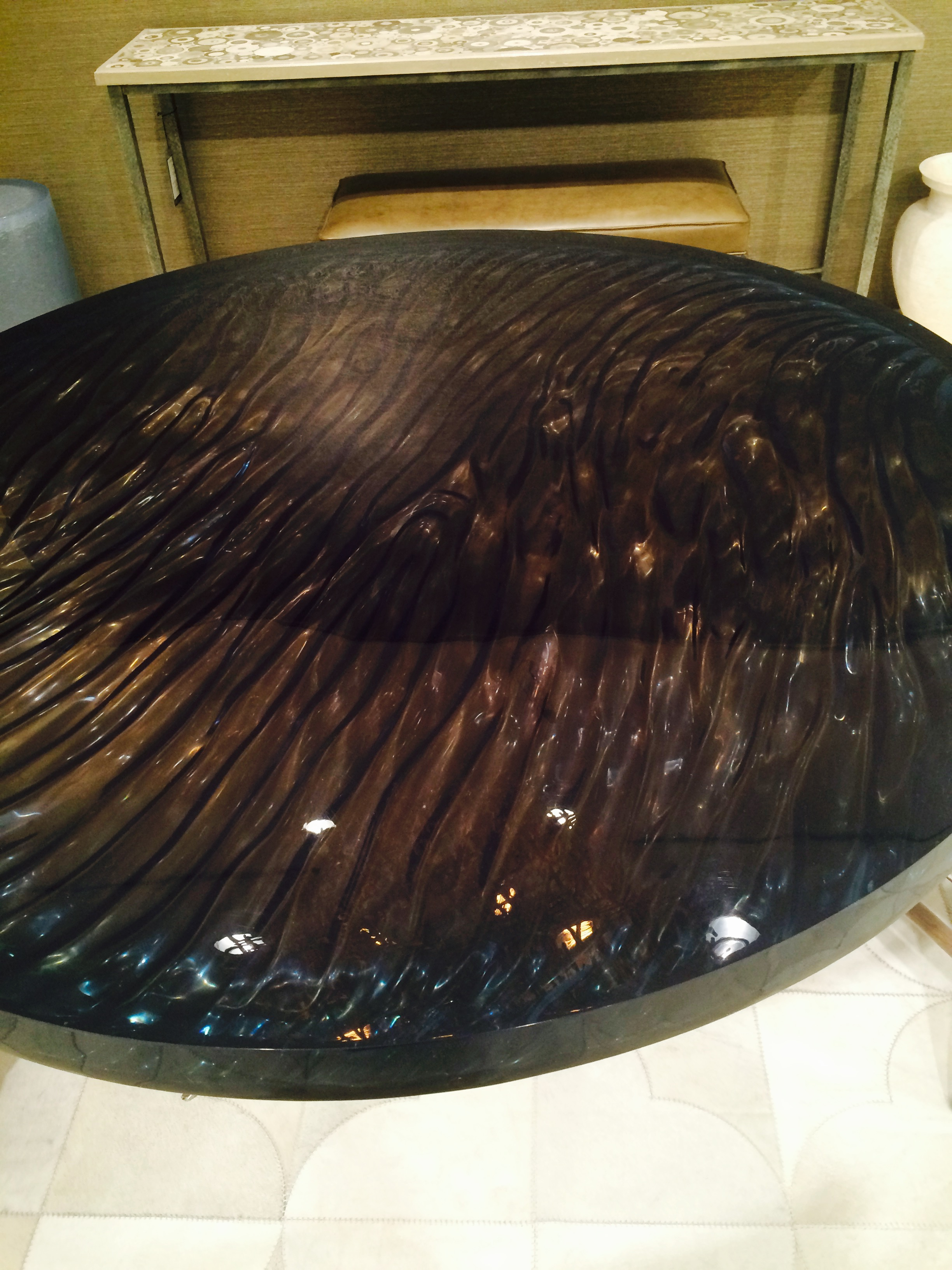 Iridescent ripple effect glass Dining table