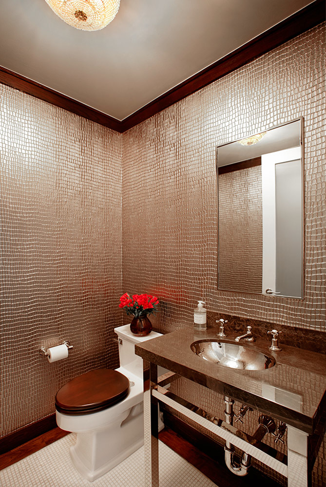 Powder room wallcovering/ bronze Crocodile