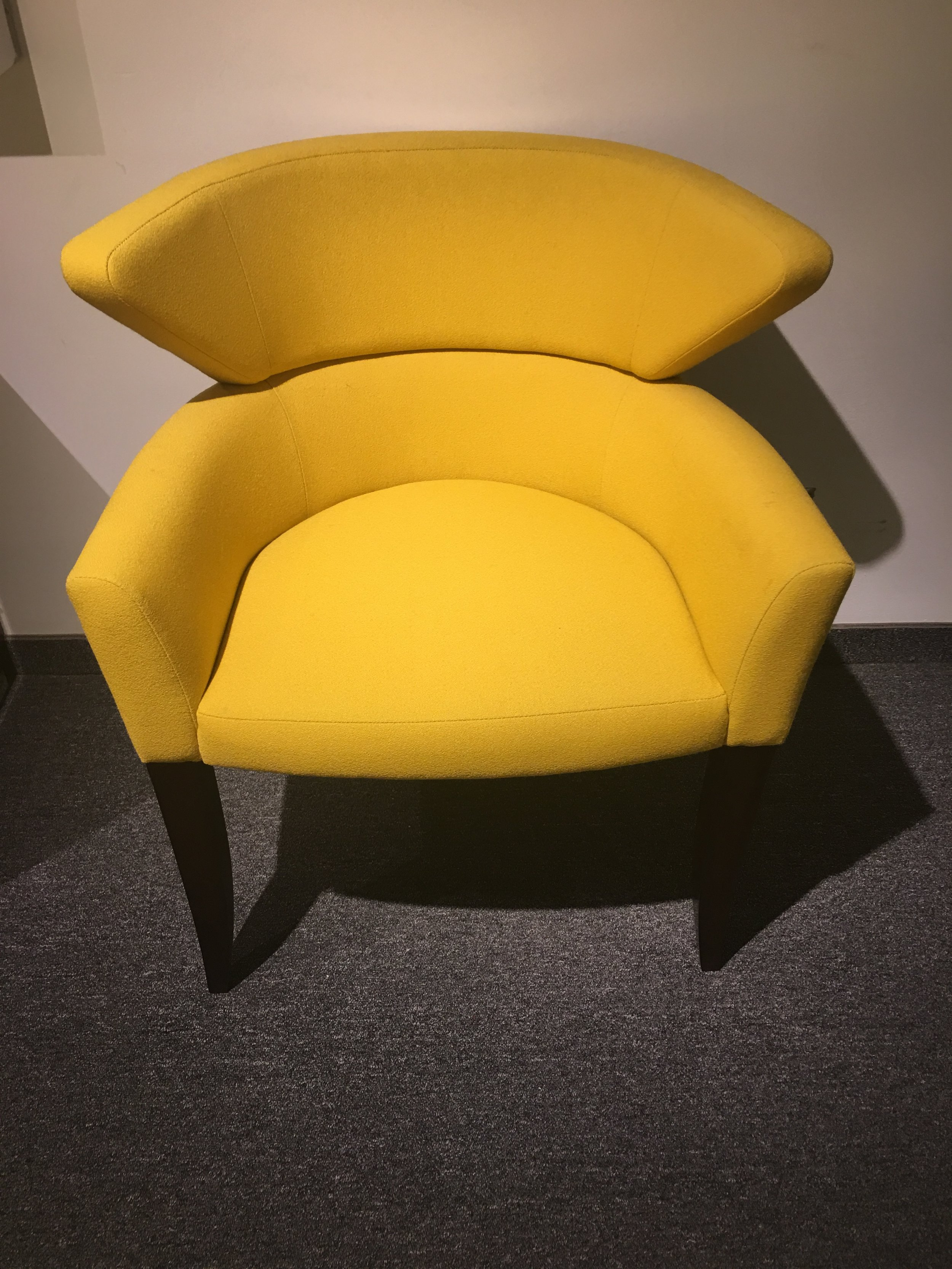 BRIGHT YELLOW CHAIR AT BRUETON SHOWROOM  - 200 LEX