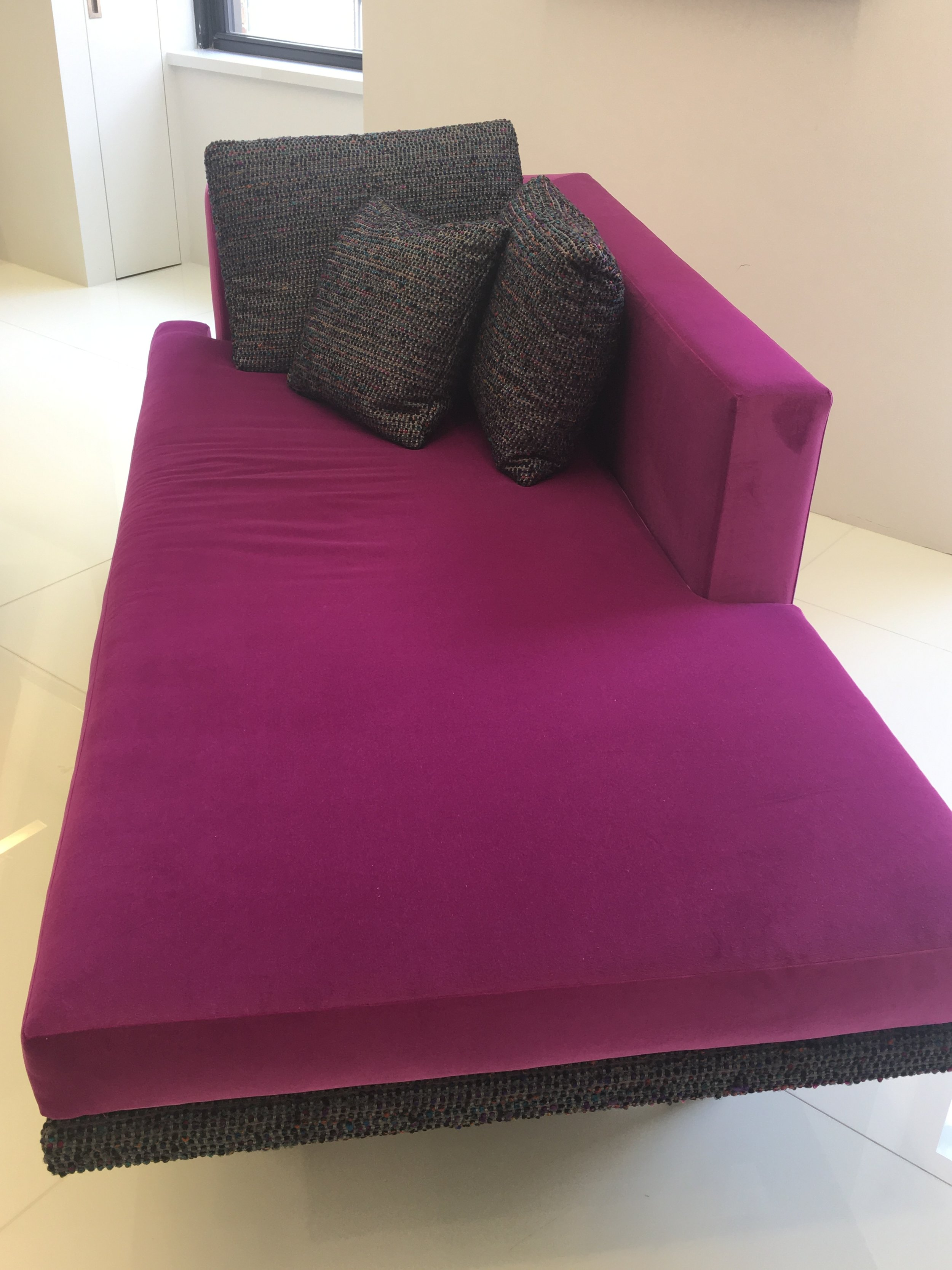 FUSCHIA CHAISE AT KGBL SHOWROOM- 200 LEX