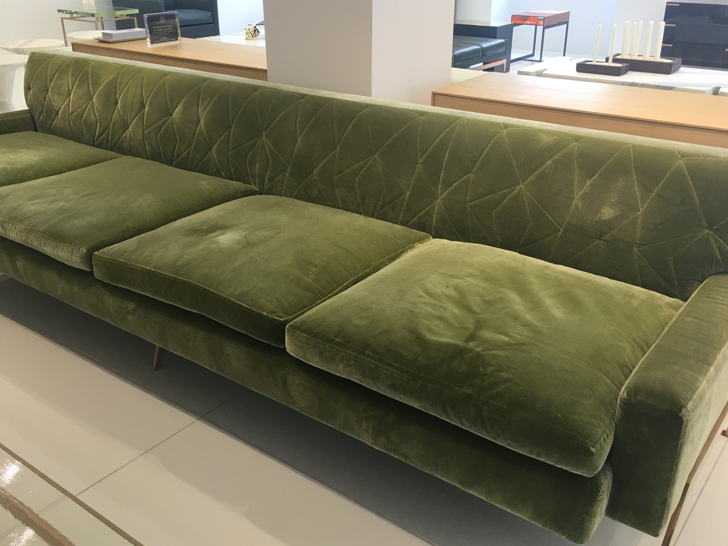 GREEN SOFA AT KGBL SHOWROOM - 200 LEX